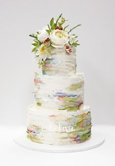 Delicate Watercolor Ruffles and Handcrafted Flowers Square Wedding Cakes, Wedding Cake Designs, Amazing Wedding Cakes, Elegant Wedding Cakes, Pretty Cakes, Beautiful Cakes, Watercolor Wedding Cake, Huge Cake, Cupcakes
