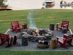 Backyard Fire Pit By The Lake.well it would be front yard fire pit Fire Pit Backyard, Backyard Seating, Cozy Backyard, Outdoor Seating, Backyard Signs, Rustic Backyard, Outdoor Fire Pits, Backyard Bbq, Fire Pit Gravel Area