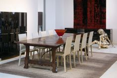 Spanish Parquetry Table with Wrough Iron Base- French Oak - 'Dark Oak' French Polish Finish - Malerba Leather Chairs