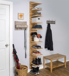 This shoe organizer is compact enough to fit into a closet, simple enough for a beginning DIYer, yet stylish enough to create attractive shoe storage in your entryway or mudroom. Each shoe shelf is adjustable to suit changing needs, and the entire project is made from a single sheet of 3/4