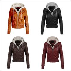 Womens Casual Motorcycle Fleece Hoodie Faux Leather Jacket | Faux ...