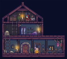 The interior of that house I posted last week. It's time consuming drawing all of those props! As you can see I exaggerated the scale inside a little to make it more manageable.