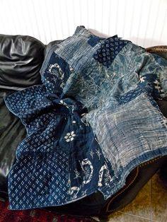 Vintage Japanese Boro Textile with Katazome Stenciling Indigo Hand Woven Hand Dyed Kimono Futon Cover