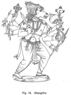 Hayagriva Indian Traditional Paintings, Indian Paintings, Indian Gods, Indian Art, Outline Drawings, Pencil Drawings, Lord Vishnu Wallpapers, Black And White Sketches, Tanjore Painting