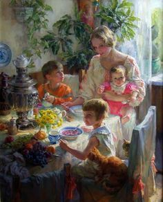Family gathered at mealtime [official title unknown] -- by Polina Luchanova (b.1977, Russian: Nizhneudinsk Irkutsk Region)