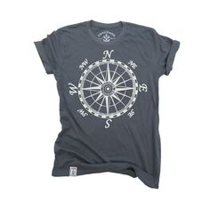 Mariner's Compass: Organic Fine Jersey Short Sleeve T-Shirt in Slate