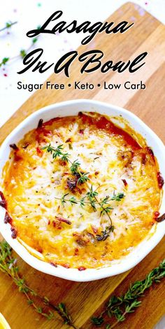 This Keto Lasagna In A Bowl is a quick and delicious low carb dinner for any day of the week!  #keto #ketodiet #ketorecipes #ketolasagna #inabowl #lasagnainabowl #ketogenic #lowcarblasagna #lasagnarecipe #sugarfree #lowcarb #food #recipes Healthy Low Carb Recipes, Low Carb Dinner Recipes, Ketogenic Recipes, Keto Dinner, Low Carb Keto, Diet Recipes, Breakfast Recipes, Ketogenic Diet, Dessert Recipes