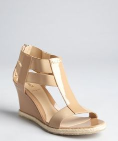 Fendi: mink patent leather and fabric strappy mini-wedge sandals on sale for $375.00.  Retail: $470.00