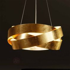 Elegante hanglamp Pura met bladgoud