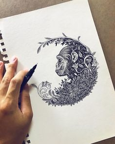Monkey. Color and Black and White Dynamic Doodles. By Visoth Kakvei.