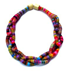 braided multicolor rope necklace with magnetic bamboo clasp by Beata Te