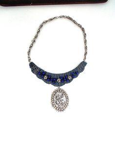 Big Bold Necklace Wire Wrapped Sari Ribbon Rhinestone by LilisGems, $53.00