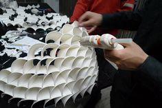 Chengyuan Wei, Guanyun Wang, Ye Tao, Jianxing Cai, Chao Chen, Xuanxing Yang, upcycled lamp, paper cups, DIY, green design, eco design, sustainable design