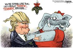 Trump Mistletoe, Rick McKee,The Augusta Chronicle,Trump, GOP, Republicans, mistletoe, Christmas, election, 2016