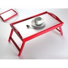 Bandeja de cama roja con asas y patas plegable de estupenda calidad. Disponible online.