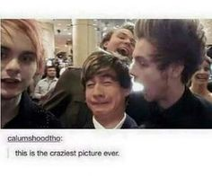Calum looks squished, there's light coming out of Luke's mouth, and Ashton and Mikey are barely even in the pic.what a mess 5sos Funny, 5sos Memes, Funny Memes, Hilarious, 5secondsofsummer, The Fam, Calum Hood, Michael Clifford, 1d And 5sos