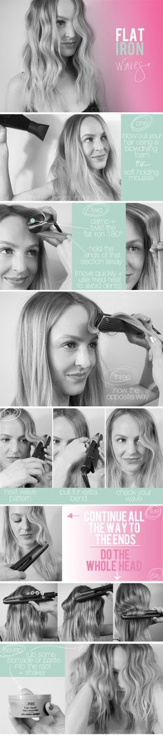 From top to ends, using curling iron, this great tutorial on how to get those perfect flat iron waves from The Beauty Department couldn't be simple enough. Beach Wave Hair, Corte Y Color, The Beauty Department, About Hair, Great Hair, Hair Dos, Wavy Hair, Curls Hair, Thick Hair