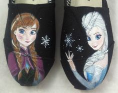 Custom Hand Painted Shoes Frozen Elsa and Anna by FancyFeet4U