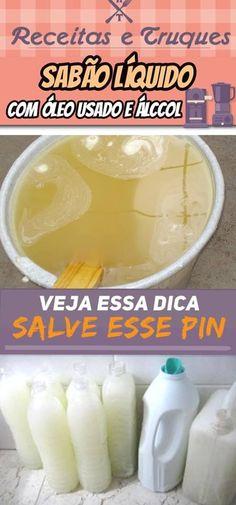 Sabão liquido com óleo usado e álcool fácil e rápido Diy And Crafts, Sweet Home, Soap, Cleaning, Fruit, Scrapbook, Natural, Coconut Bars, Food