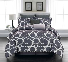 Luxury Bedding Blue and White Queen or King Size 8 Piece Comforter Set #Contemporary