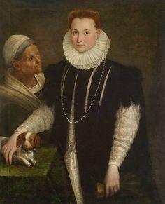 Lavinia Fontana (1552 - 1614) Bildnis einer Dame mit Magd und Hündchen, Öl auf Leinwand, 113 x 92 cm € 150.000 - 200.000