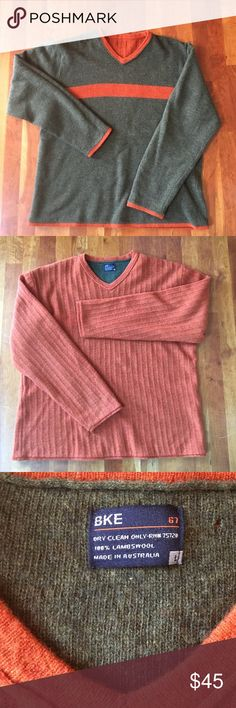 BKE reversible olive & orange vneck sweater Reduced to Lowest price! Reversible sweater w/ orange cable reversing to olive w/ orange stripe. Preloved but good condition. Has tiny hole by inside tag as shown, easily stitched & not visible when wearing orange side out. Photos taken in natural light w/ no editing or filters! Read first listing before making an offer please. NO TRADES!! 📦Ships same or next day! BKE Sweaters V-Neck