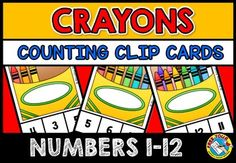 BACK TO SCHOOL COUNTING ACTIVITIES: COUNTING CRAYONS CLIP CARDS (NUMBERS 1-12)  This hands-on fun pack, containing 12 task cards, is an ideal resource for your Math Center. Children have to count the crayons (1-12) and clip the peg onto the corresponding number. The perfect resource to motivate your students!