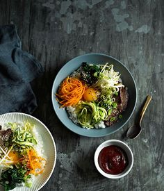 Australian Gourmet Traveller fast Korean recipe for beef bibimbap.