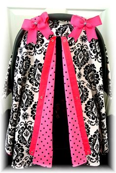 carseat canopy car seat cover black pink white by JaydenandOlivia, $37.99