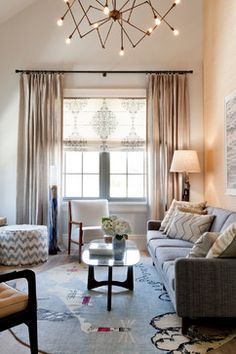Love the window treatment. Elizabeth Dow Home, Holiday House Hamptons 2014 - eclectic - Living Room - New York - Rikki Snyder