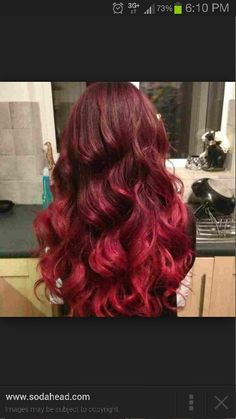 Dark Cherry Into Bright Cherry Ombre Hair