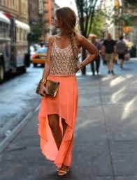gorgeous neon high low skirt, paired with nude top, summer fashion Looks Street Style, Looks Style, Look Fashion, Fashion Beauty, Womens Fashion, Skirt Fashion, Fashion Ideas, Fashion Fashion, Coral Fashion