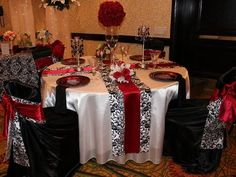 Black, White, and Red Damask! Timeless and elegant!