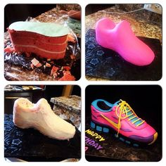 Tennis shoe cake cool, just diff shoe laces needed Cake Decorating Techniques, Cake Decorating Tutorials, Fondant Cakes, Cupcake Cakes, Running Cake, Bag Cake, Purse Cakes, Cake Structure, Shoe Cakes