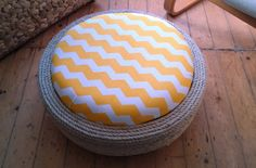 New Up-cycled Tyre Ottoman Designs by Woollysaurus: Yellow Chevron