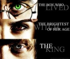 the boy who lived. the brightest witch of her age. the king. #Harry #Potter #Hermione #Ron Weasley