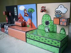 Diorama Mario 3 - Montado - 04 by Jhonat on DeviantArt Cardboard Toys, Paper Toys, Paper Crafts, Super Mario Kunst, Super Mario Art, Video Game Decor, Video Game Art, Donkey Kong, Mario Crafts