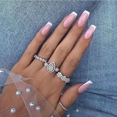 French Tip Acrylic Nails, French Manicure Nails, Best Acrylic Nails, French Nails, Acrylic Nail Designs, Gel Nails, Nails French Design, Coffin Nails, Spring Nail Art