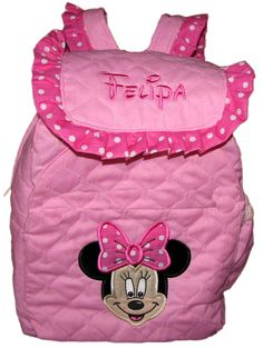 """Miss Mouse TODDLER  BACKPACK  in  12"""" size with Minnie Mouse Applique on Bubblegum Pink  Personalized Free. $37.50, via Etsy."""