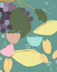 Flowers and Grapes Painting Print on Wrapped Canvas