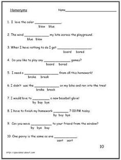 Students often struggle with homonyms and homophones, and that difficult is reflected in their writing. These worksheets focus on the correct meanings.