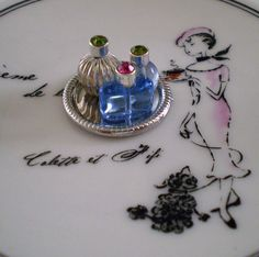 Fluted Silver and Blue Miniature Dollhouse Scale Vanity ~ 1:12 Scale | by Enchanticals ~I'm Coming Back