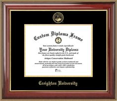 College - Creighton Bluejays - Embossed Seal - Mahogany Gold Trim - Diploma Frame