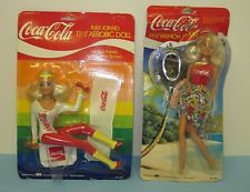 Vintage Lot (2) 1986 Coca Cola BBI Toy Fashion & Aerobic Jointed Dolls vg6168