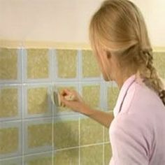 How to paint bathroom tiles - I need to do this to our kitchen and bathroom tiles!