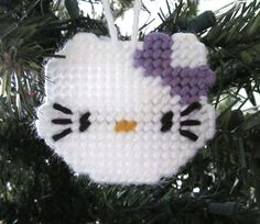 Hello Kitty Christmas ornament in plastic canvas - $3.00
