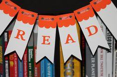 "Back to school ""READ"" Banner in orange. $7.00, via Etsy."