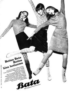 """Bottes Bata bien bottantes"" Bata Shoes Vintage Advertising,1965 (France)"