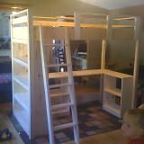 Plans for loft bed... Ellie has an ikea one but look at this bad boy! all the storage and desk wow I think I really want to make her this..
