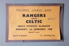 USED FOOTBALL MATCH TICKET / RANGERS v CELTIC / JANUARY 1940 / IBROX